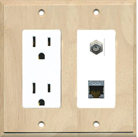 RiteAV - 15 Amp Power Outlet 1 Port Coax Cable TV- F-Type and Shielded Cat6 Ethernet Wall Plate - Wood/White