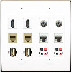 RiteAV 2 Port HDMI 2 Coax 2 Phone 2 Cat5e Wall Plate 2 USB 2 Speaker Wall Plate