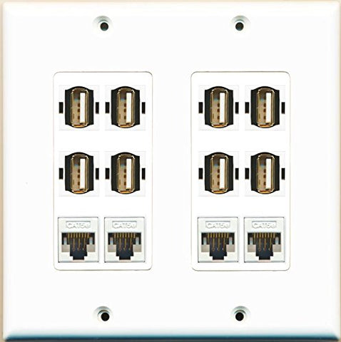 RiteAV 4 Cat5e and 8 USB A-A Wall Plate Decorative Type Dual Gang White