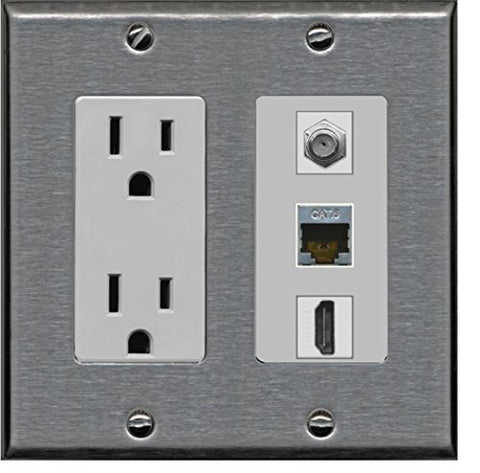 RiteAV - 15 Amp Power Outlet 1 Port HDMI Coax Shielded Cat6 Ethernet Ethernet Wall Plate - Stainless Steel/Gray