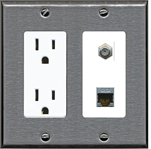 RiteAV - 15 Amp Power Outlet 1 Port Coax Cable TV- F-Type and Shielded Cat6 Ethernet Wall Plate - Stainless Steel/White