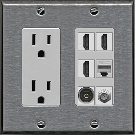 RiteAV Power Outlet 3 HDMI Coax Cat5e Toslink Wall Plate - Stainless Steel/Gray