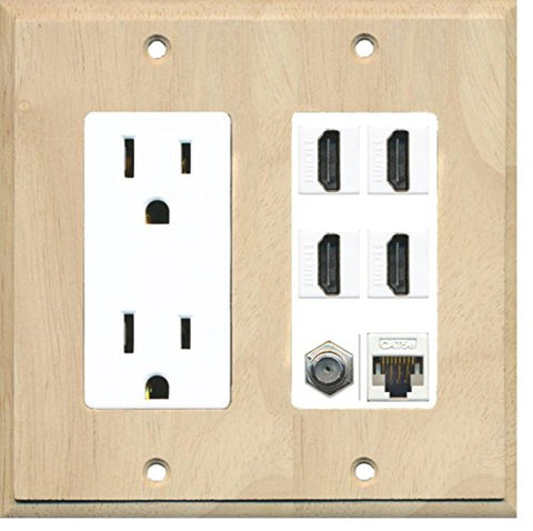 RiteAV 15A Power Outlet, 4 HDMI, 1 Cat5e Ethernet, 1 Coax Cable TV Wall Plate - Wood/White