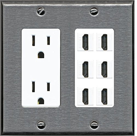 RiteAV - (2 Gang Decorative) 15A Power Outlet 6 HDMI Wall Plate Stainless Steel on White