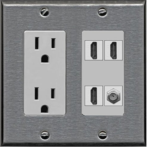 RiteAV Power Outlet 3 HDMI White Coax Wall Plate - Stainless Steel/Gray