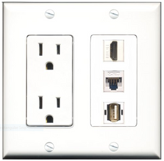 2 Gang Outlet Wall Plate with 3 Keystone Ports
