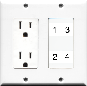 Custom 2 Gang Outlet Wall Plate With 4 Keystone Ports