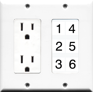 Custom 2 Gang Outlet Wall Plate with 6 Keystone Ports