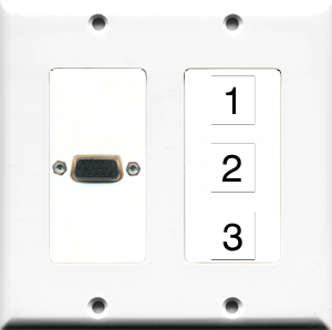 Custom 2 Gang VGA White Wall Plate with 3 Keystone Ports