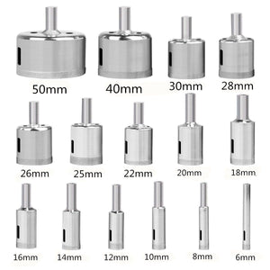 DrillPro™ 15pc 6-50mm Diamond Core Drill Bits for Glass/Tile/Ceramic/Porcelain/Marble Holes