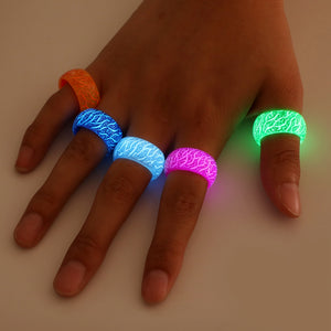 Real Glow in the Dark - Fluorescent Glowing Colorful Rings For Women / Men
