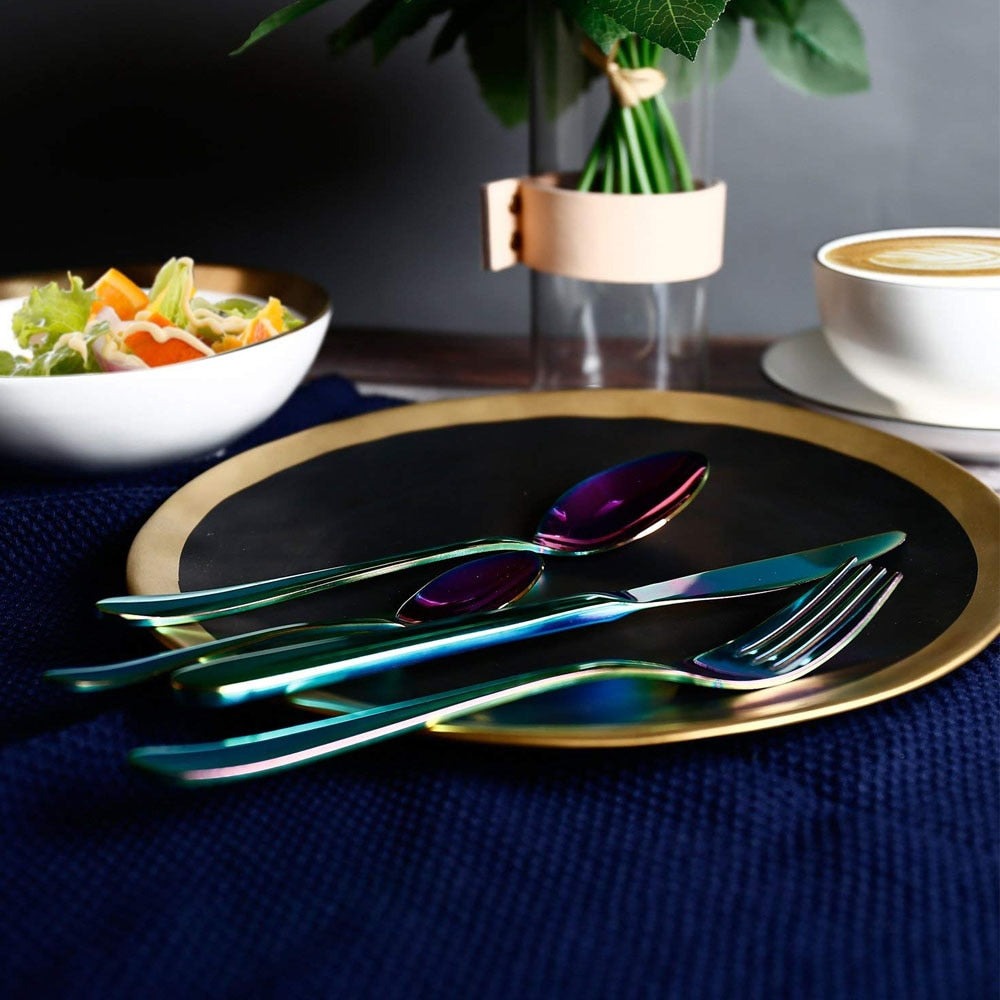 24 Pcs Rainbow Stainless Steel Cutlery Set