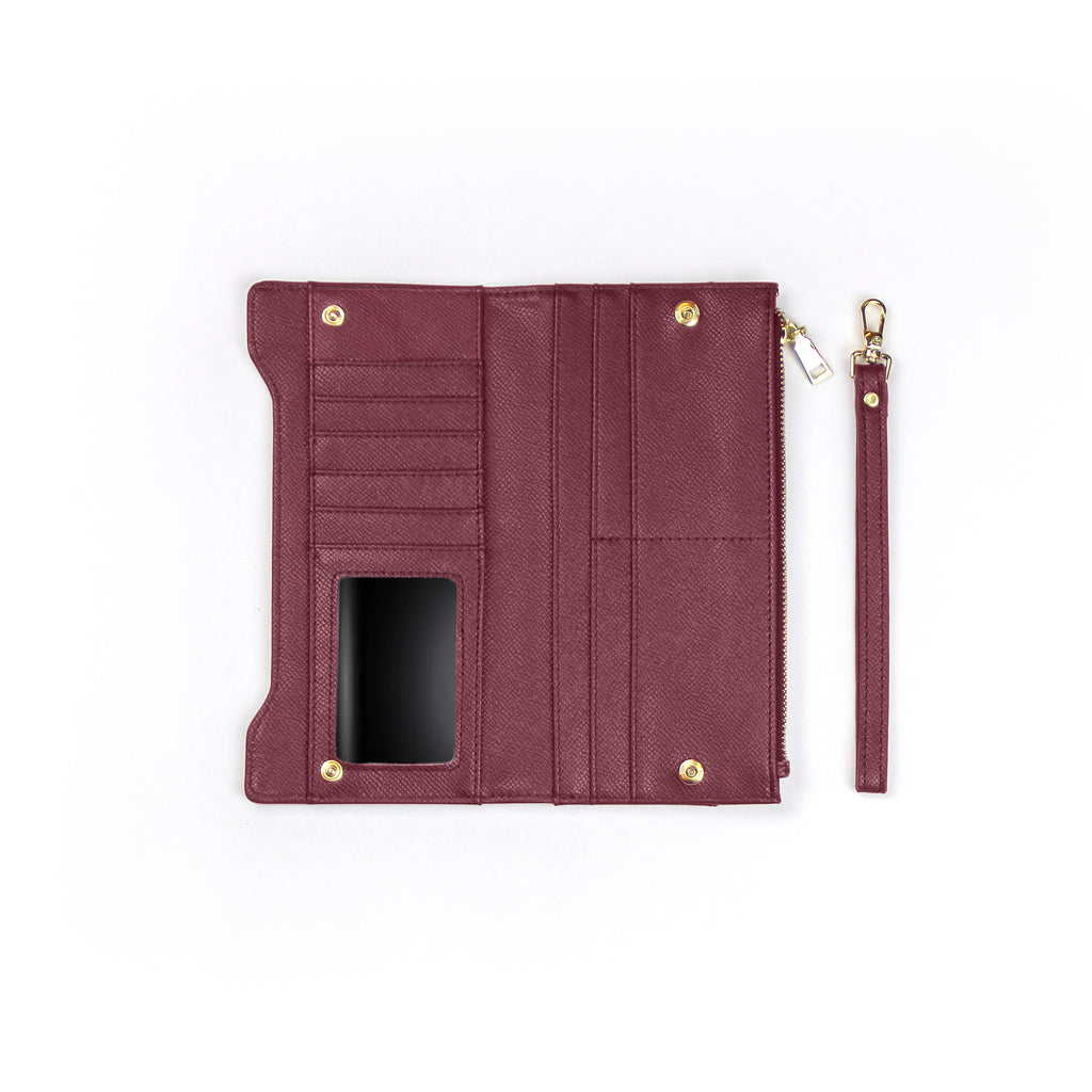 AVA Snap Button Wallet with Leather Wristband - Mahogany| AVA 长皮夹(附手腕带)- 深紫红