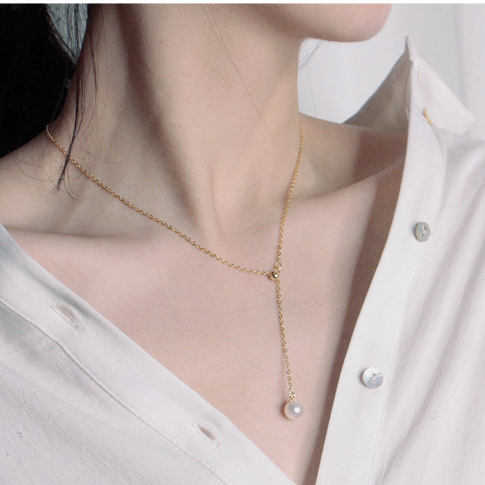 Droplet Pearl Necklace
