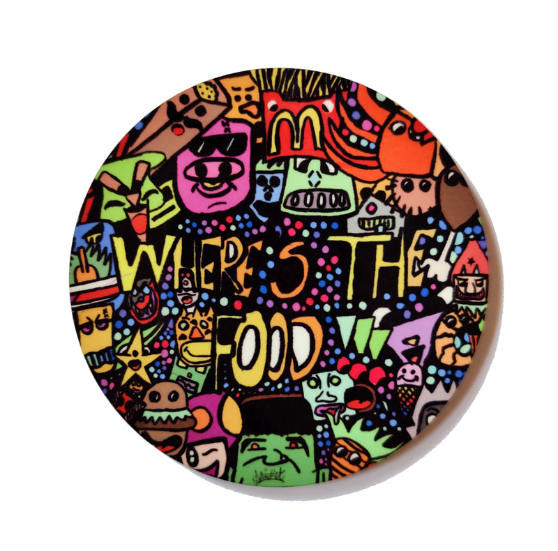 Quirky Fridge Magnet Round (Where's the Food)