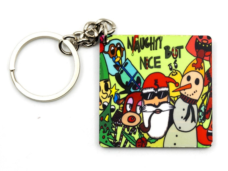 Wooden Designer Christmas Keychain (Naughty But Nice)