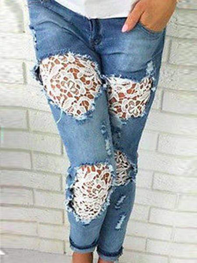 Broken Holes  Lace Casual  Jeans pants