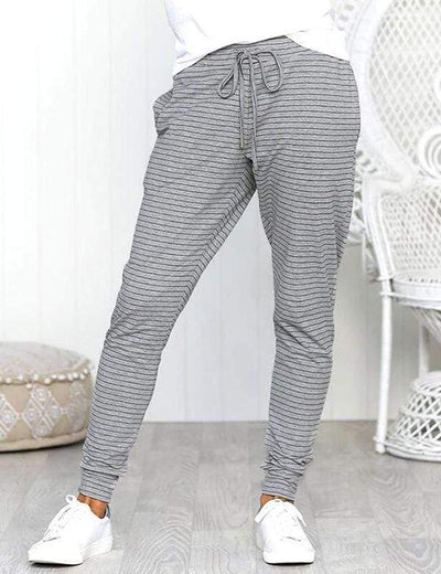 Casual Comfort Belt Stipped Pants