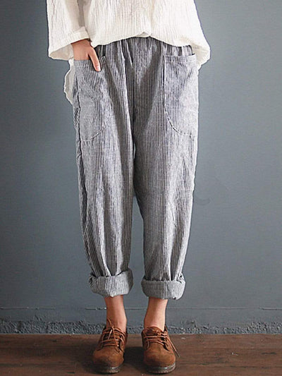 Casual Loose Stripe Printed Elastic Waist Pants