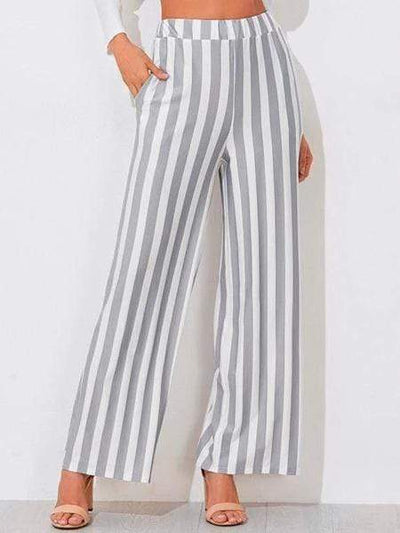 Casual Stripe Wide Leg Trouser Pants