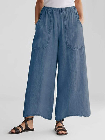 Cotton And Linen Pockets Loose Wide Leg Casual Pants