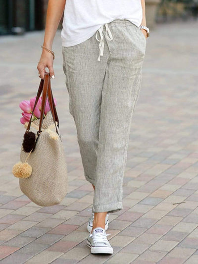 Solid Color Loose Casual Cotton And Linen Pants