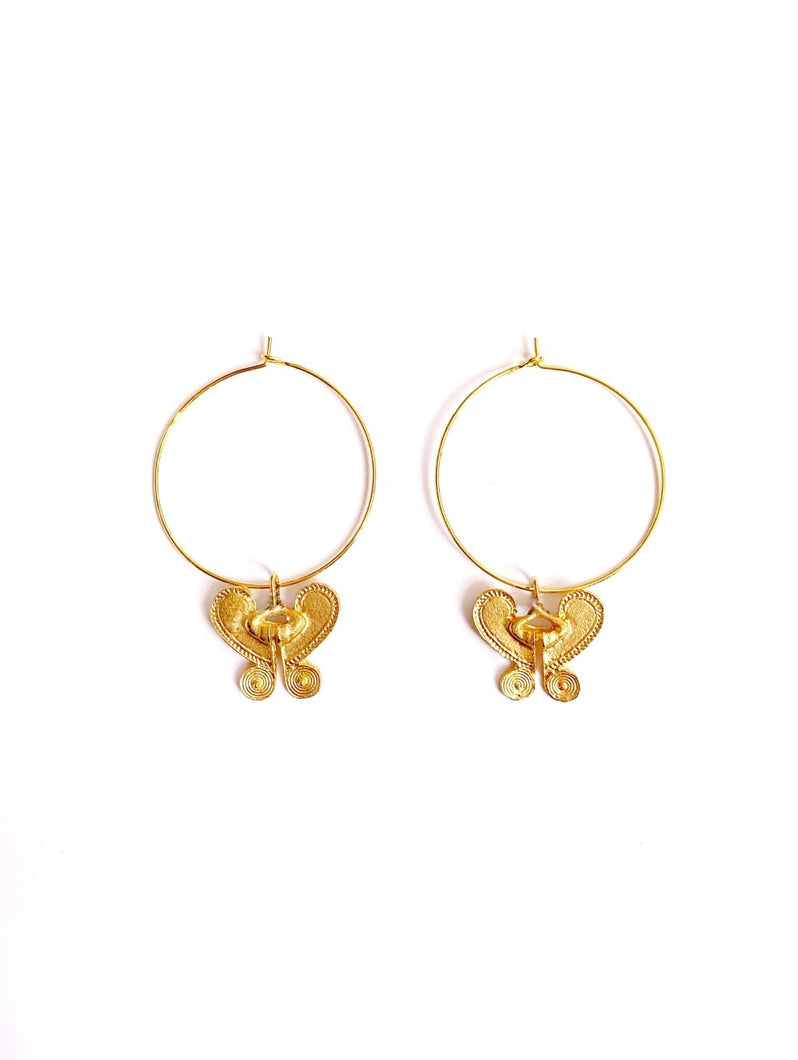 Butterfly loop earrings