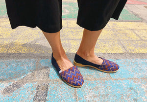 Model wearing Marsel Blue Espadrilles