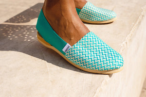 Model wearing Marsel Green Espadrilles