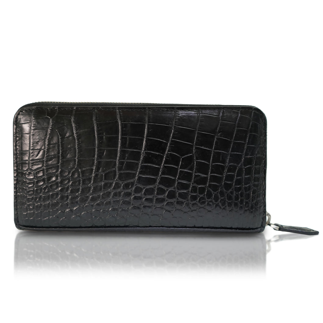 Black crocodile wallet in genuine leather from Sherrill Bros