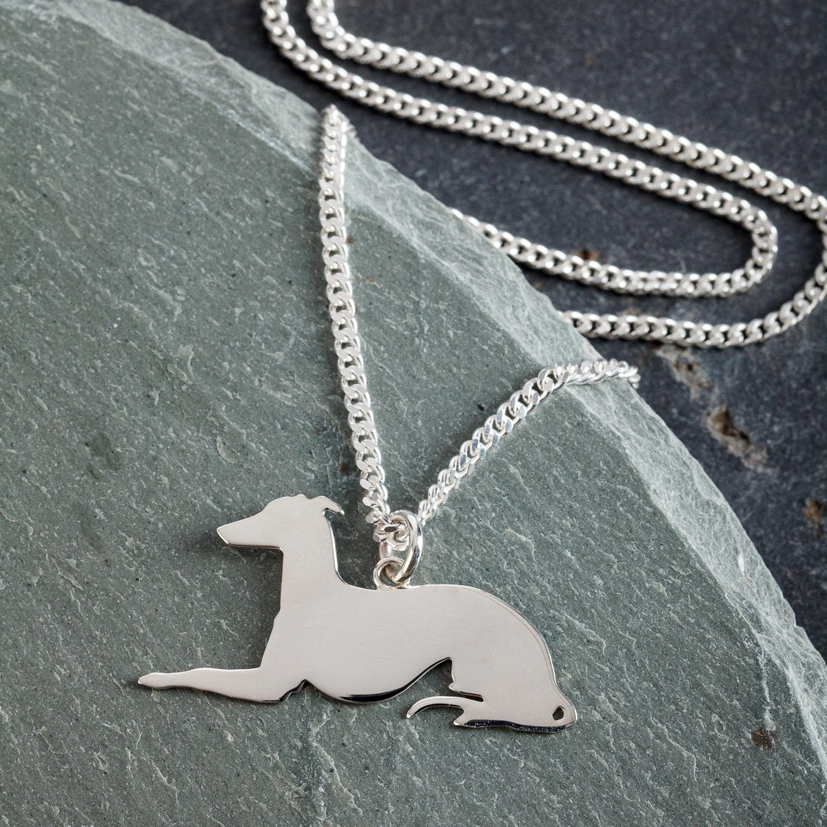 Long Dog Silver Pendant