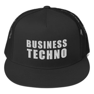 BUSINESS TECHNO - WHITE LOGO - NETTED TRUCKER CAP