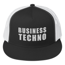 Load image into Gallery viewer, BUSINESS TECHNO - WHITE LOGO - NETTED TRUCKER CAP