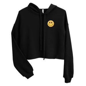 ACID HOUSE SMILEY FACE CROP HOODIE