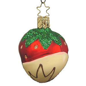 Vanilla Chocolate Dipped Strawberry Christmas Ornament Inge-Glas
