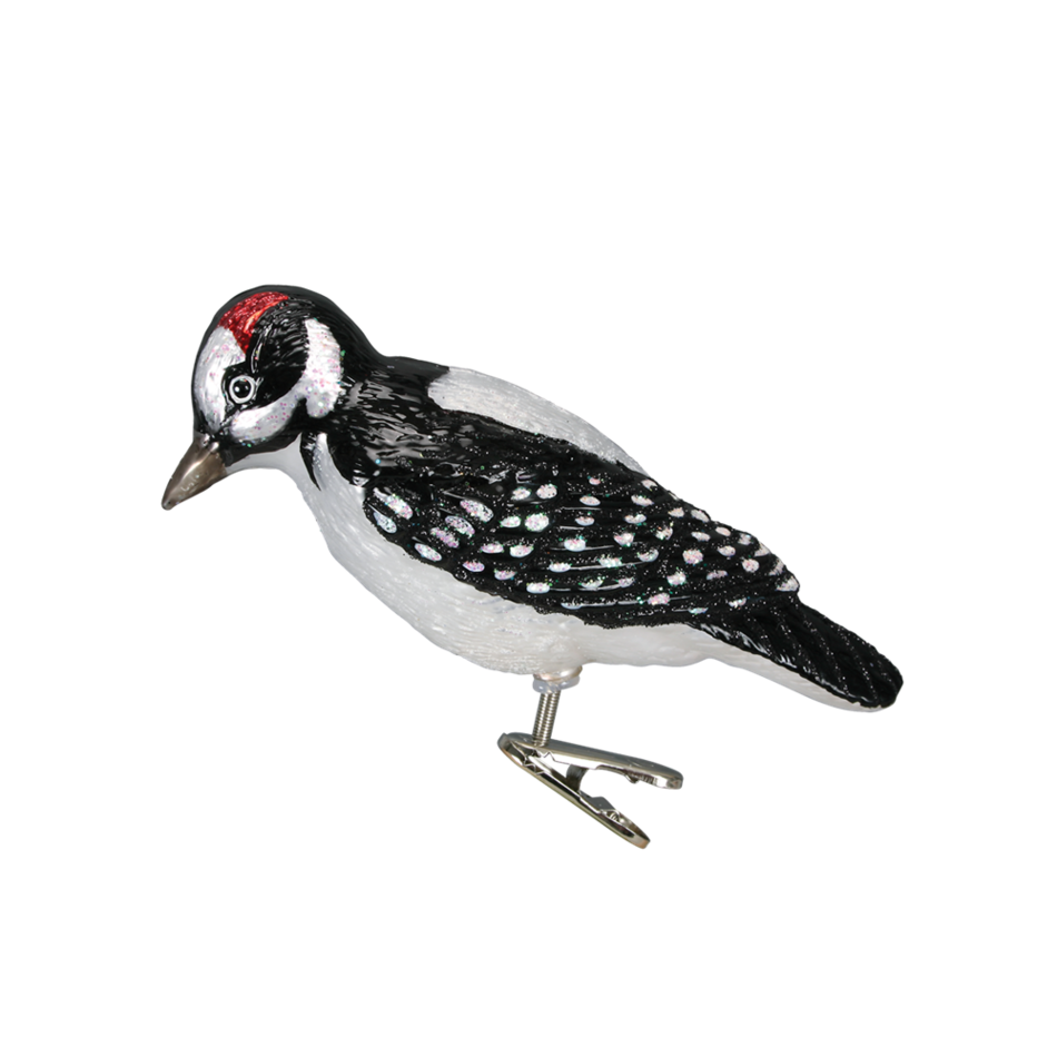 Hairy Woodpecker 18039 Old World Christmas Clip On Ornament