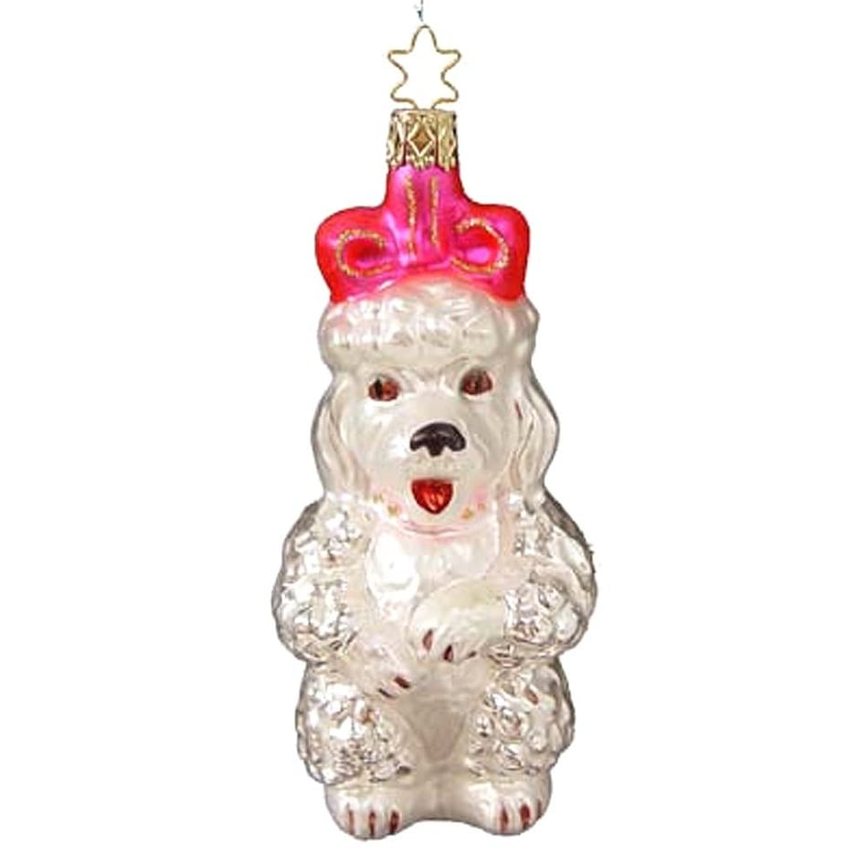 50's Poodle with Pink Bow Retired Christmas Ornament Inge-Glas of Germany