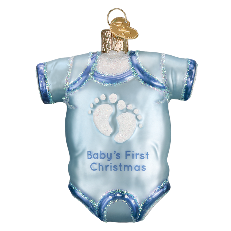 32339 Blue Baby Onesie Old World Christmas Ornament
