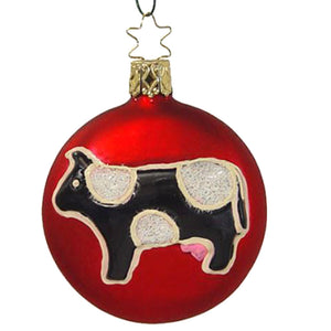 At the Farm Cow Retired Christmas Ornament Inge-Glas of Germany