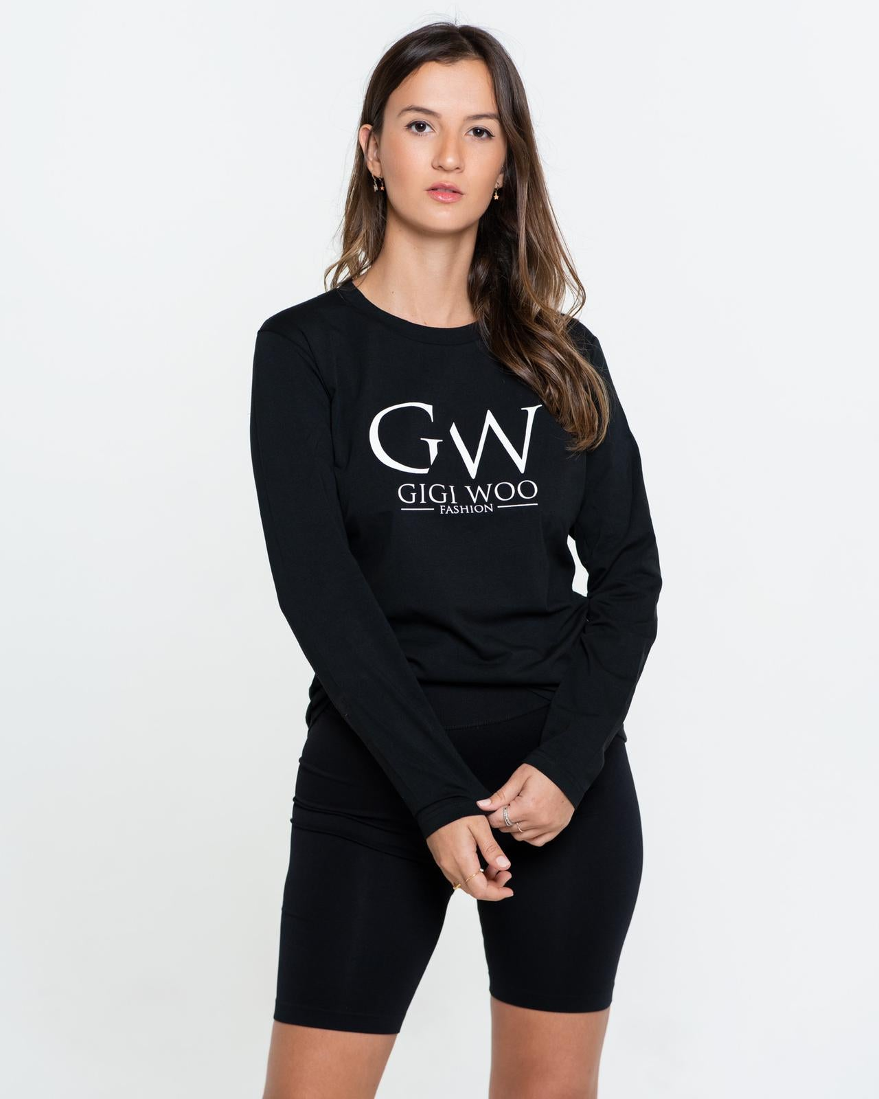 Monogram Logo Crew neck Long Sleeve Tee - BLACK