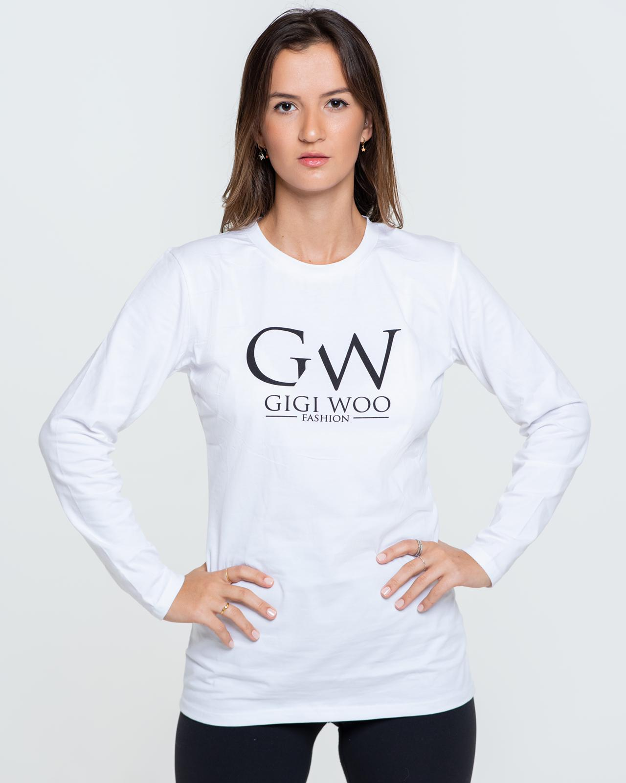 Monogram Logo Crew neck Long Sleeve Tee - WHITE