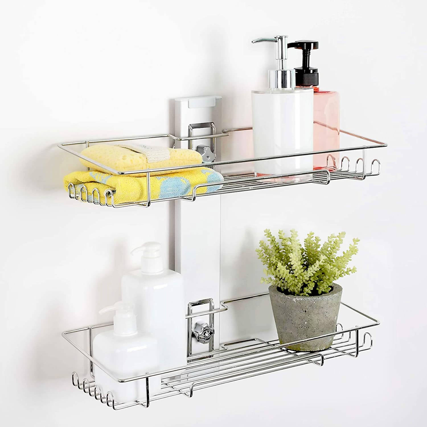 SHOWER CADDY SUCTION CUP 2TIER SHOWER SHELF