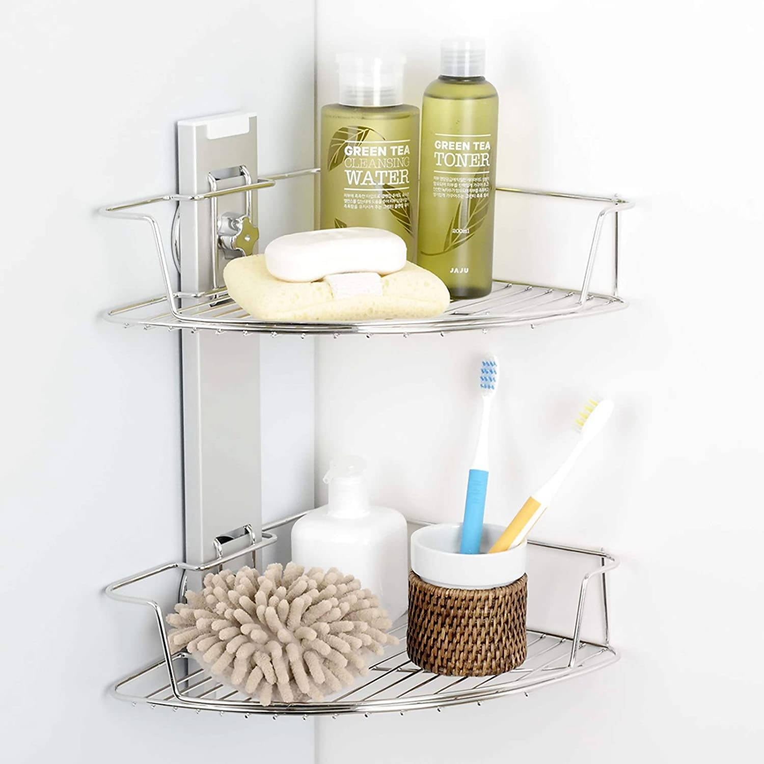 SHOWER CADDY SUCTION CUP 2TIER CORNER SHOWER SHELF