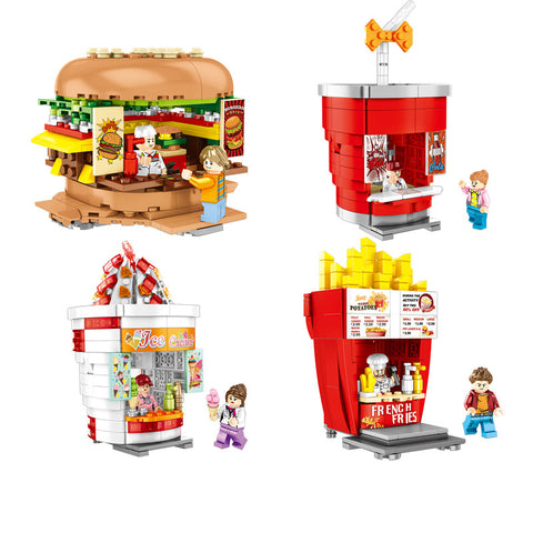 Hamburger/Drink/Ice Cream/French Fries Models Stores Building Blocks
