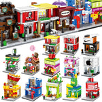 BALODY Street View Series Candy Pizza Ice Cream Fast Food Shop Bookstore Building Blocks