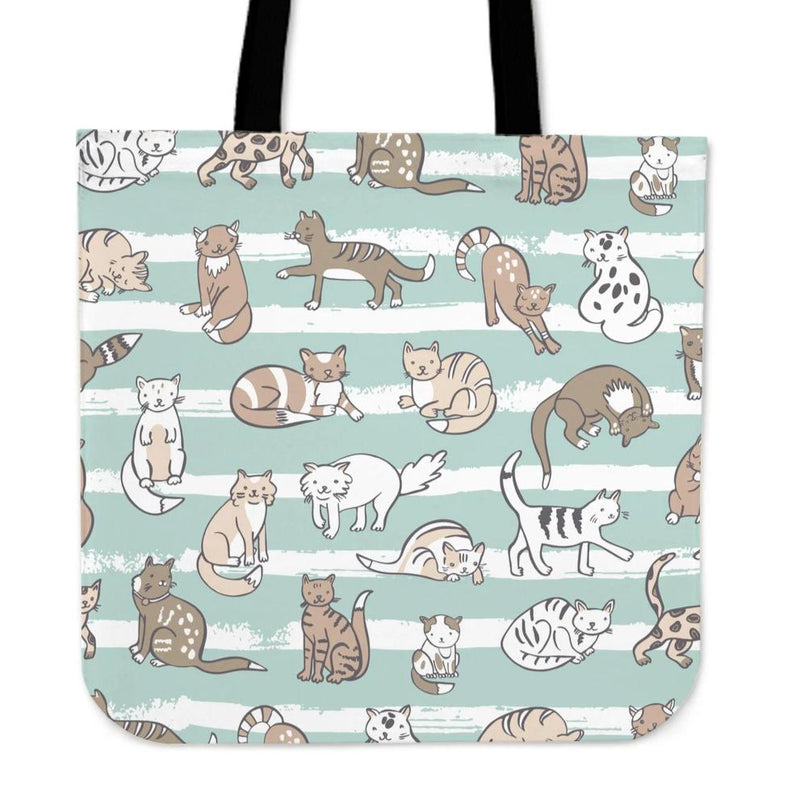 Green Cute Cats Cloth Tote Bag