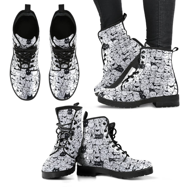 B&W Cartoon Cat Women's Leather Boots