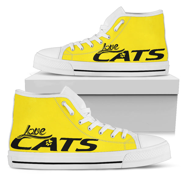 Love cats Yellow Women's High Top Shoe