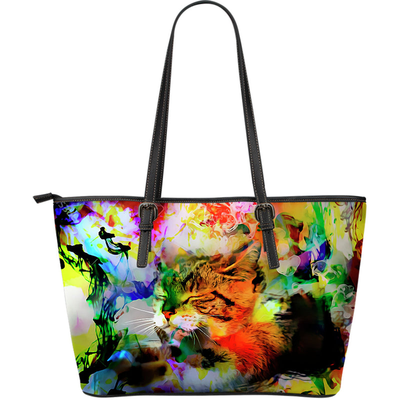 Sleeping Cat Large Leather Tote Bag