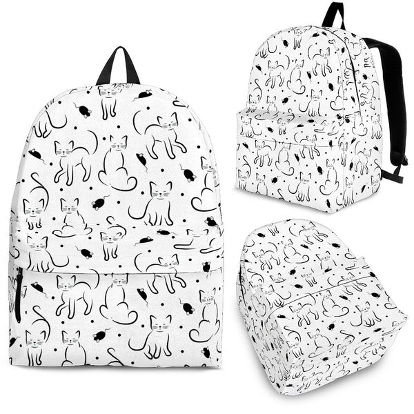 White Cat Meow Backpack